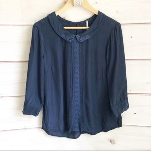 Free people collared lace trim top